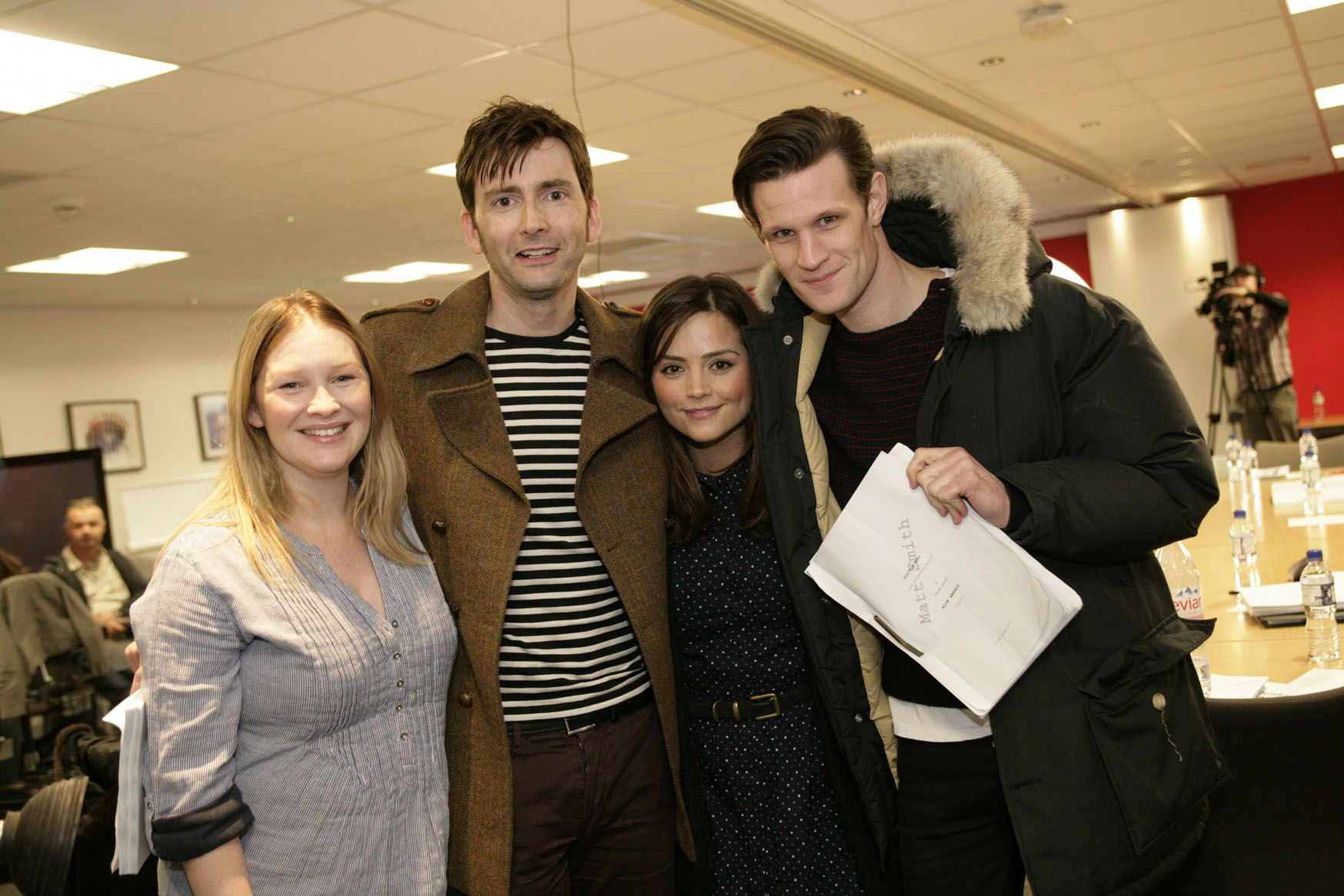 Joanna Page, David Tennant, Jenna-Louise Coleman and Matt Smith at the 50th Anniversary Special readthrough (Credit: BBC)