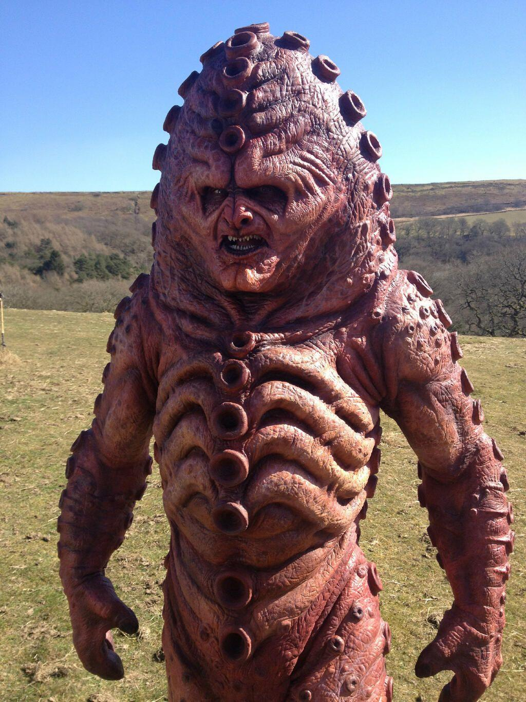Zygon revealed at filming. (Credit: BBC)