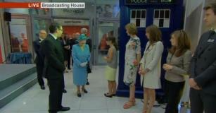 The Queen meets Jenna-Louise Coleman at BBC Broadcasting House, 7th June 2013 (Credit: BBC News)