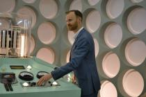 Mark Gatiss with the AAISAT TARDIS console (Credit: Samy Kacimi)