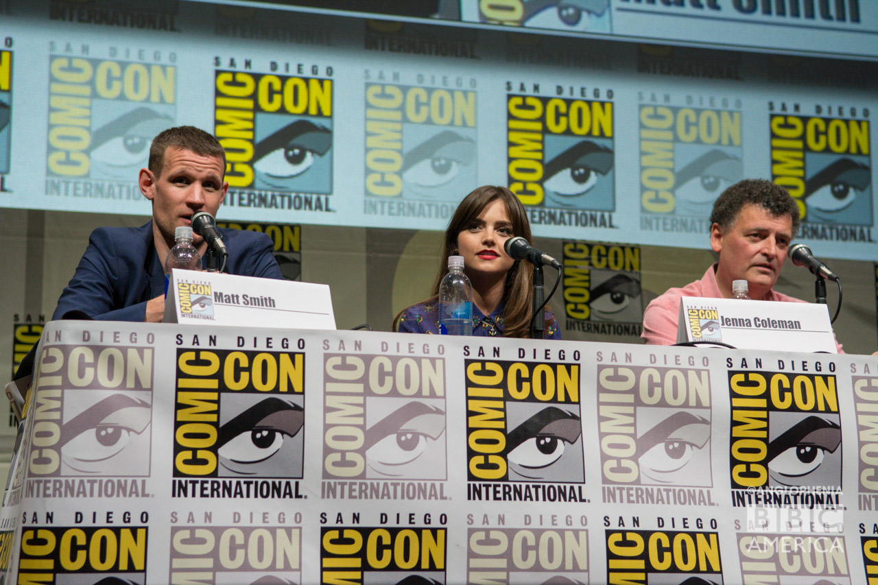 Matt Smith, Jenna Coleman and Steven Moffat (Credit: BBC America)