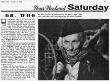 An Unearthly Child, BBC1, 23 Nov 1963 (Article) (Credit: Radio Times)