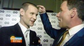 Matt Smith with Richard Arnold at the GQ Awards, 3 Sep 2013 (Credit: Daybreak)