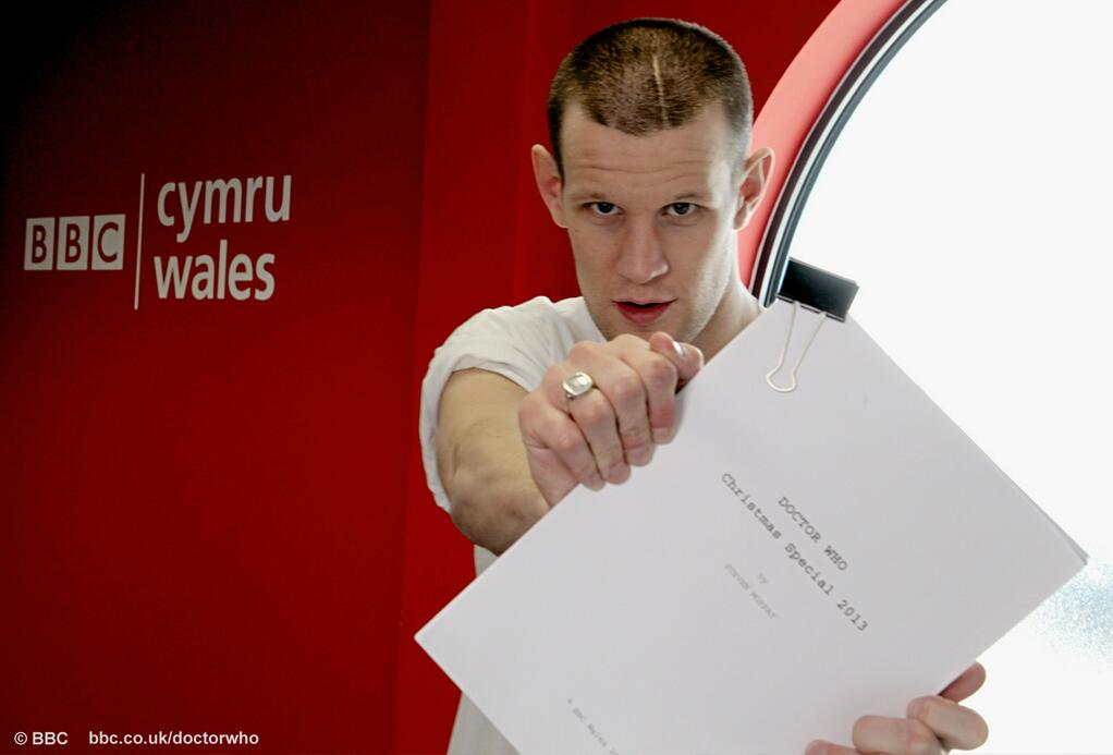 Matt Smith at the Christmas Special readthrough (Credit: BBC)