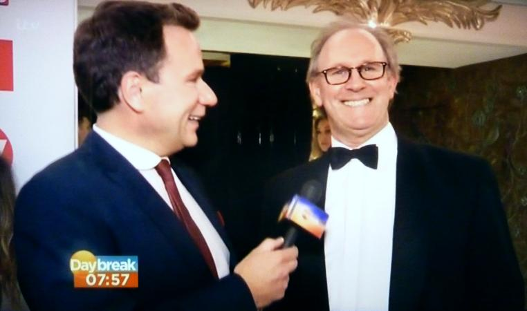Richard Arnold with Peter Davison at the TV Choice Awards, 9 Sep 2013 (Credit: Daybreak)