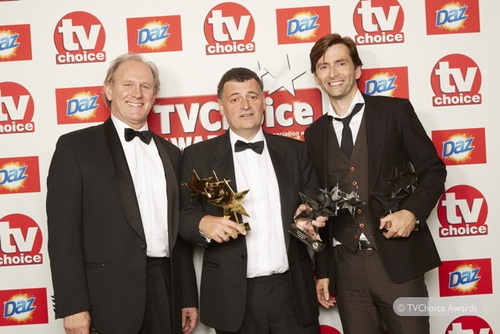 Peter Davison, Steven Moffat and David Tennant at the TV Choice Awards (Credit: TV Choice Magazine)