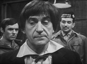 From left: Ralph Watson as Captain Knight, Patrick Troughton as the Doctor, and Nicholas Courtney as Colonel Lethbridge-Stewart in The Web of Fear. (Credit: BBC Worldwide)