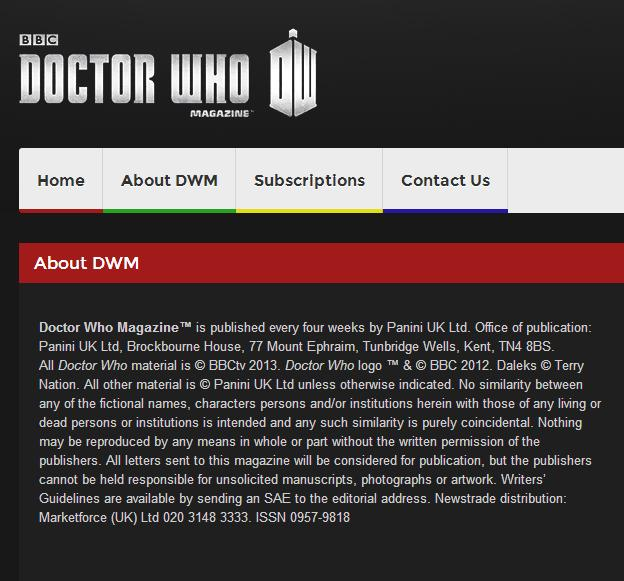 DWM Website launched (Credit: Doctor Who Magazine)