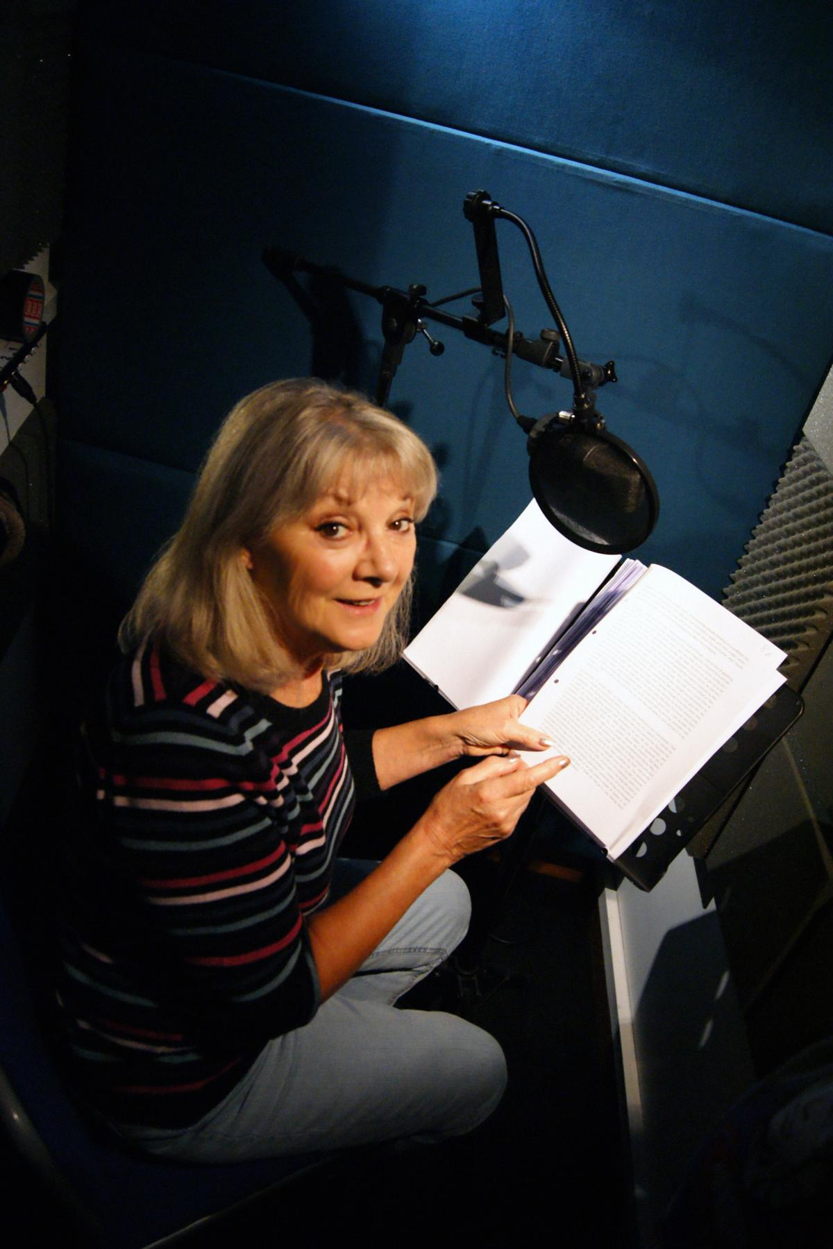 Anneke Wills reading Who's There? The Life and Career of William Hartnell (Credit: Fantom Publishing)