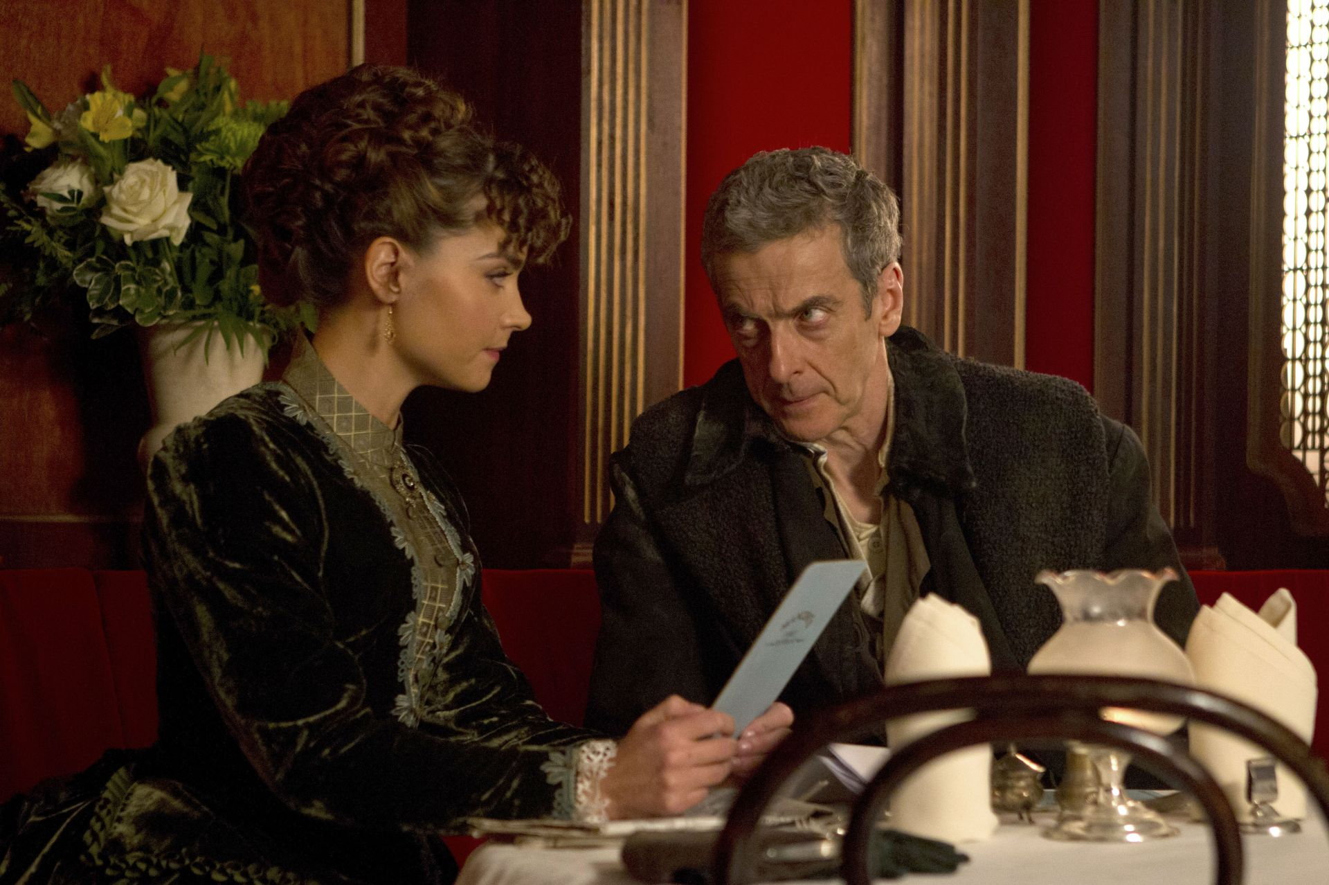 The Doctor is annoyed that Clara booked her cinema ticket before him... (Photo Credit: BBC/Adrian Rogers)