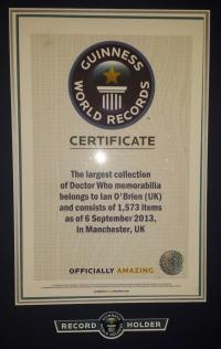 Guinness World Record for Largest Doctor Who Collection, 6 Sep 2014 (Credit: Ian O'Brien)