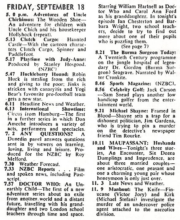 CHTV-3 Schedule for 18 Sep 1964 (Credit: The Listener)