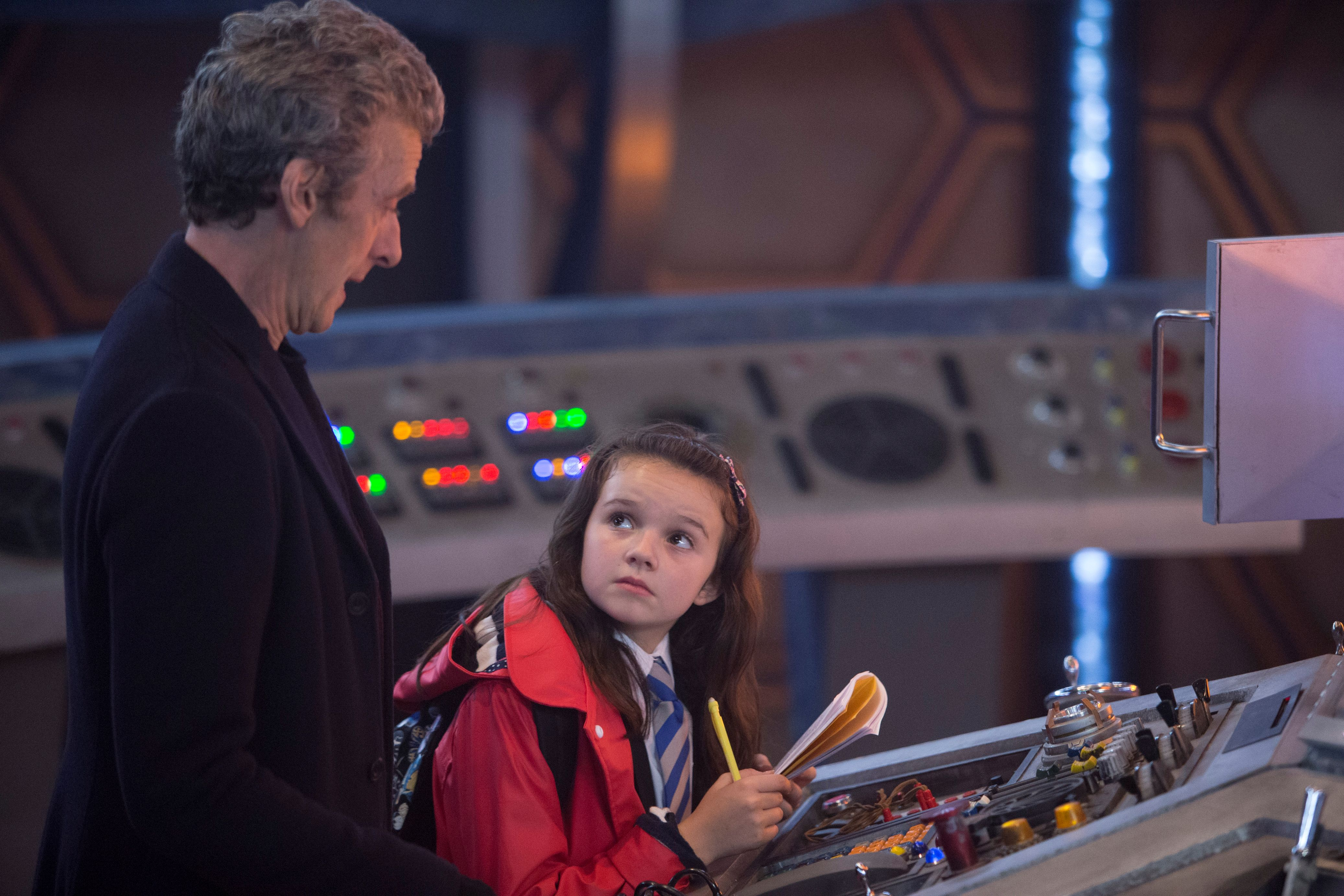 In the Forest of the Night - The Doctor (Peter Capaldi) and Maebh (Abigail Eames) (Credit: Adrian Rogers, BBC/BBC Worldwide 2014)