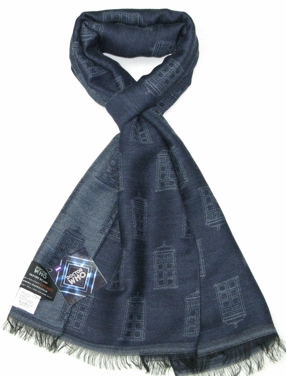 TARDIS Scarf (Blue & Grey) (Credit: Lovarzi)