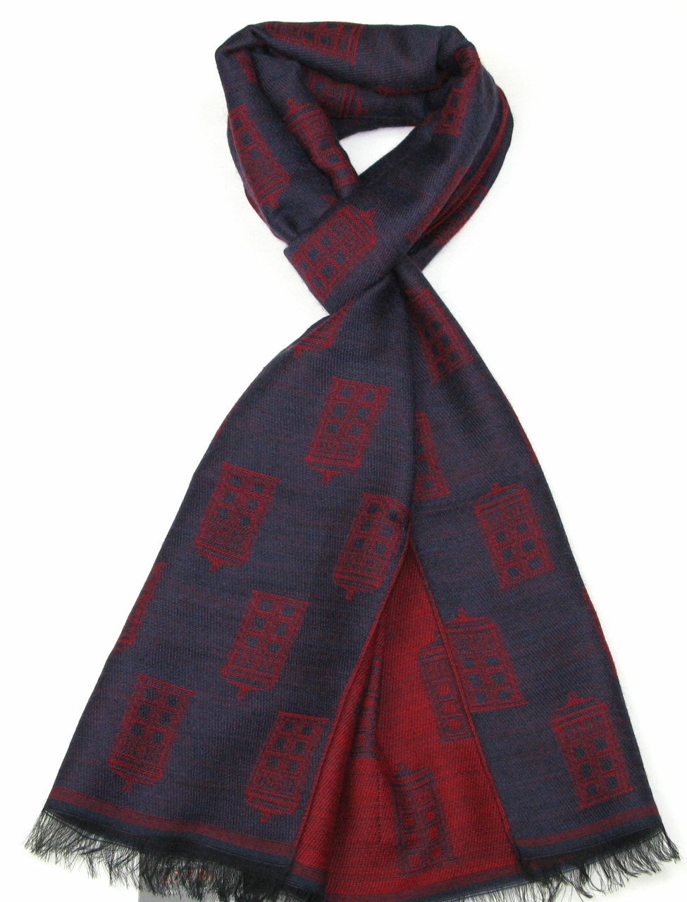 TARDIS Scarf (Blue & Red) (Credit: Lovarzi)