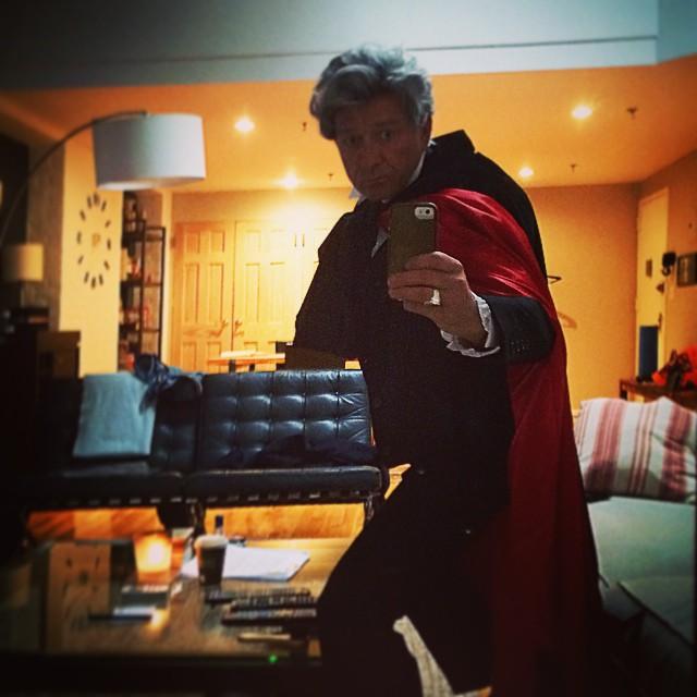 Sean Pertwee dressed as the Third Doctor for Halloween (Credit: Sean Pertwee / instagram)