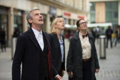 Death in Heaven, the Doctor (Peter Capaldi), Kate Stewart (Jemma Redgrave), and Osgood (Ingrid Oliver) (Credit: Adrian Rogers, ©BBC/BBC WORLDWIDE 2014)