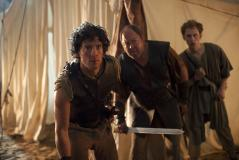 Jason (Jack Donnelly), Hercules (Mark Addy), Pythagoras (Robert Emms) (Credit: BBC/Urban Myth Films)