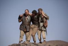 Hercules (Mark Addy), Jason (Jack Donnelly), Pythagoras (Robert Emms) (Credit: BBC/Urban Myth Films)