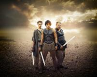 Pythagoras (Robert Emms), Jason (Jack Donnelly), Hercules (Mark Addy) (Credit: BBC/Urban Myth Films)