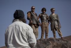 Behind the Scenes: Mark Addy (Hercules), Jack Donnelly (Jason), Robert Emms (Pythagoras) (Credit: BBC/Urban Myth Films)