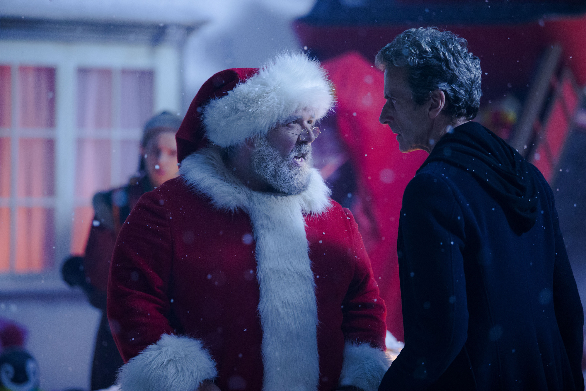 Santa Claus (NICK FROST), Doctor Who (PETER CAPALDI) (Credit: BBC / Adrian Rogers)