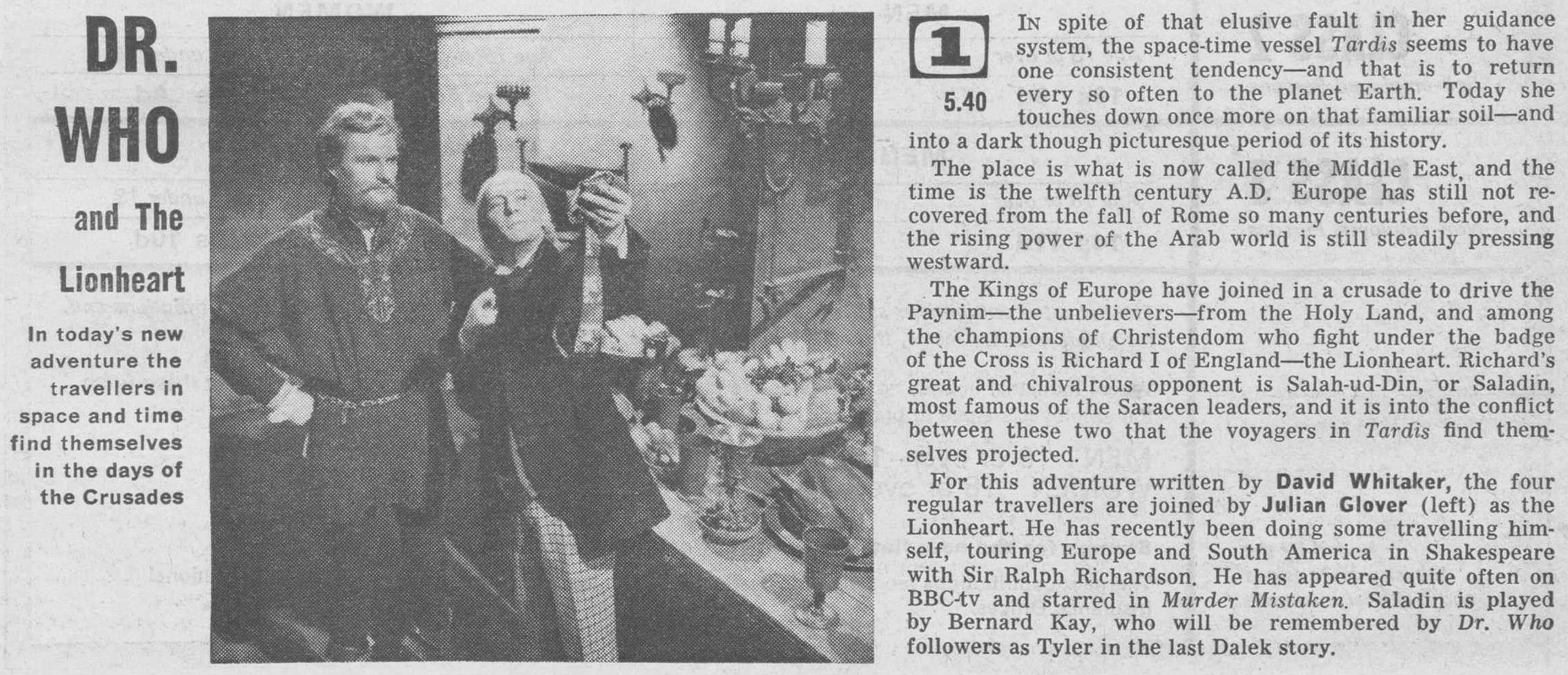 The Lion, BBC1, 27 March 1965 (Article) (Credit: Radio Times)