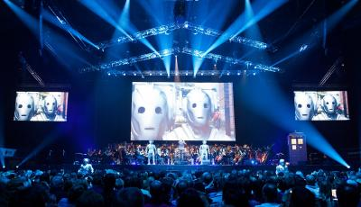 Cybermen invade the Doctor Who Symphonic Spectacular tour while Ben Foster conducts the BBC National Orchestra of Wales and the BBC National Chorus of Wales. (Credit: House PR)