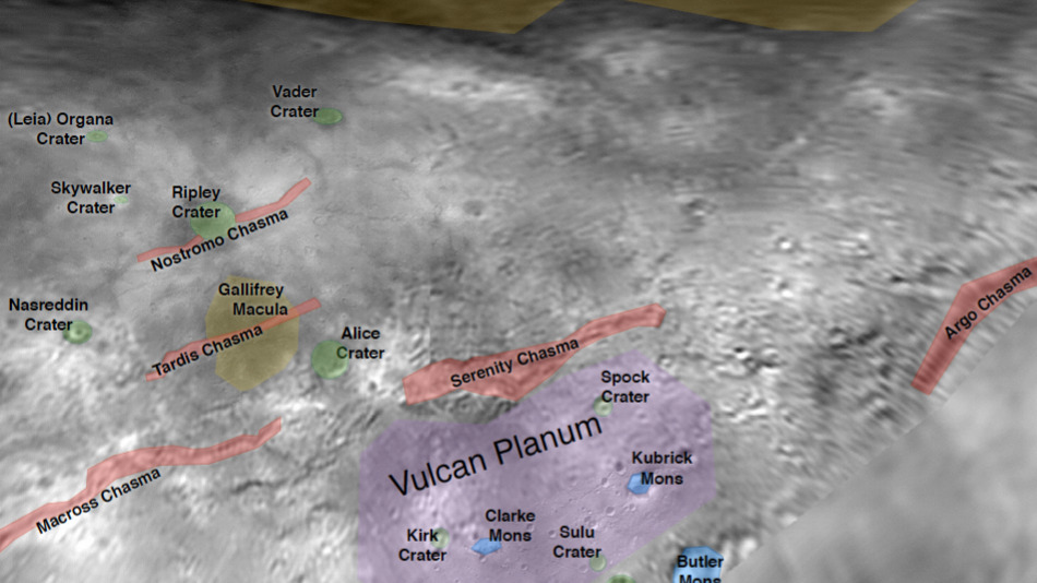Doctor Who related names on Charon (Credit: NASA)