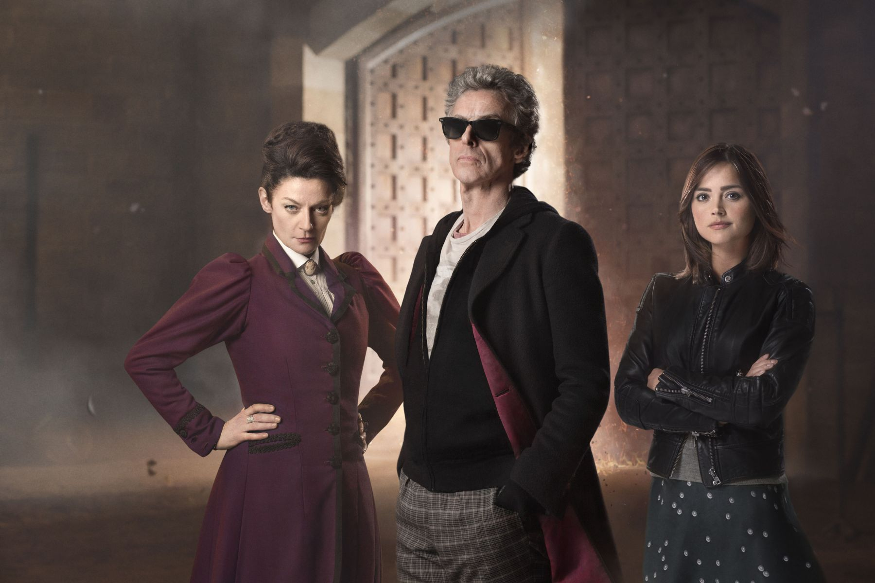 Peter Capaldi, Jenna Coleman and Michelle Gomez as The Doctor, Clara and Missy in The Magician's Apprentice/The Witch's Familiar (Credit: BBC/Simon Ridgway)