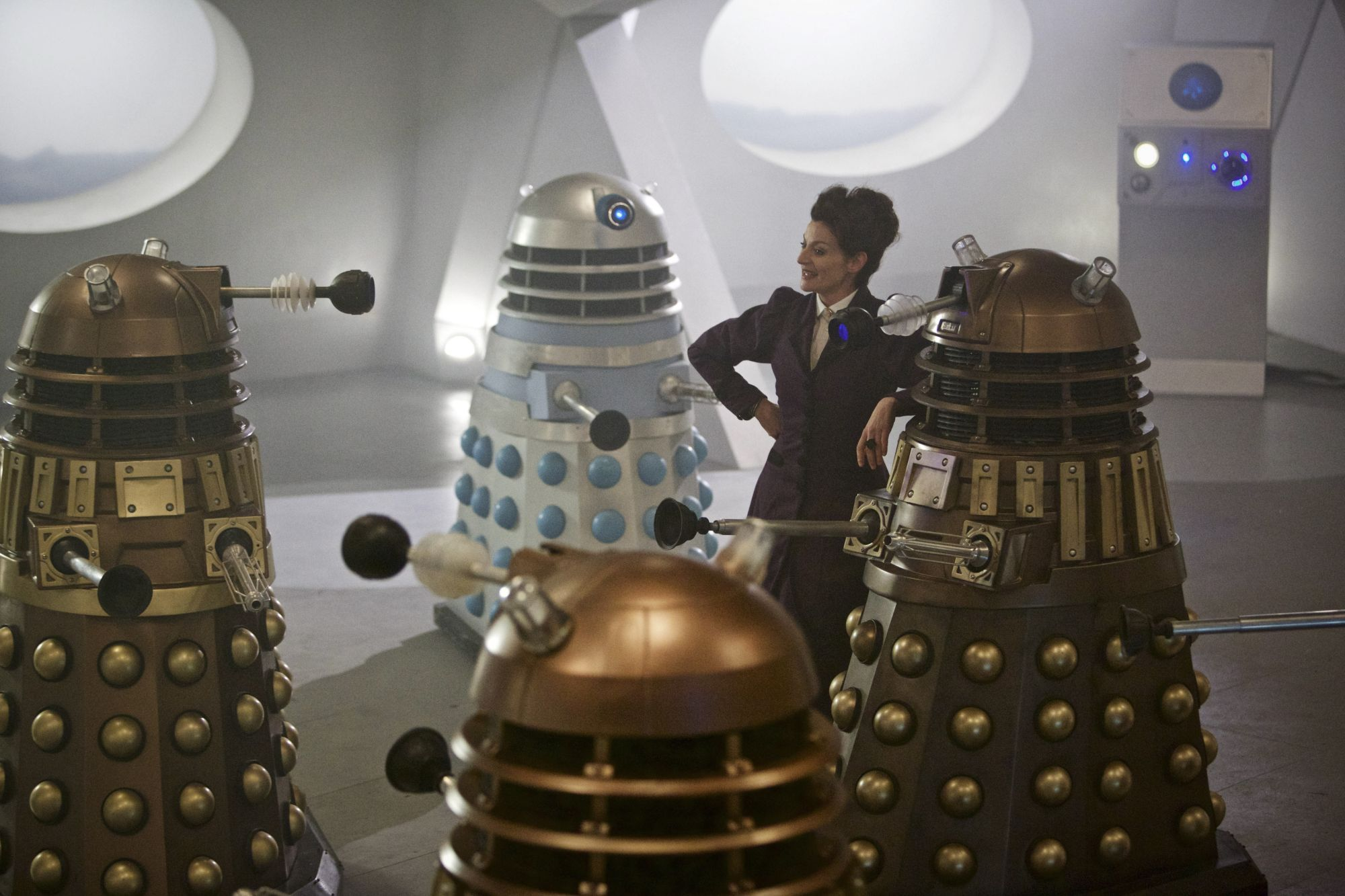 The Witch's Familar: Michelle Gomez as Missy with the Daleks (Credit: BBC/Simon Ridgway)