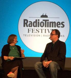 Russell T Davis with Alison Graham at the Radio Times Festival (Credit: Maggie Gibbons)