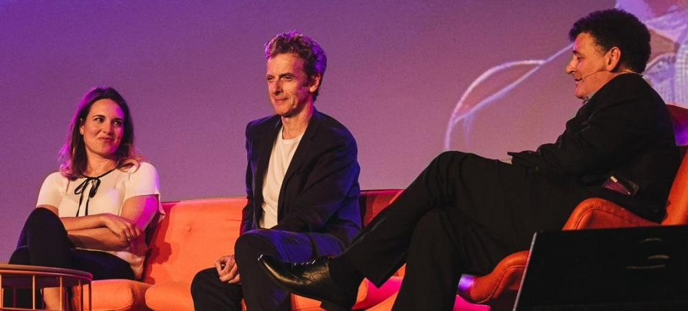 Doctor Who Festival, Sydney Australia: Ingrid Oliver, Peter Capaldi and Steven Moffat on stage (Credit: BBC Worldwide)