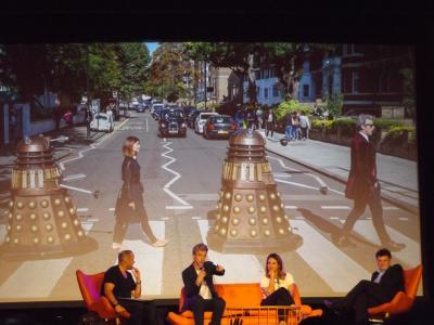Peter Capaldi discusses how he, Jenna Coleman and two Daleks paid homage to the album cover for the Beatles' Abbey Road.