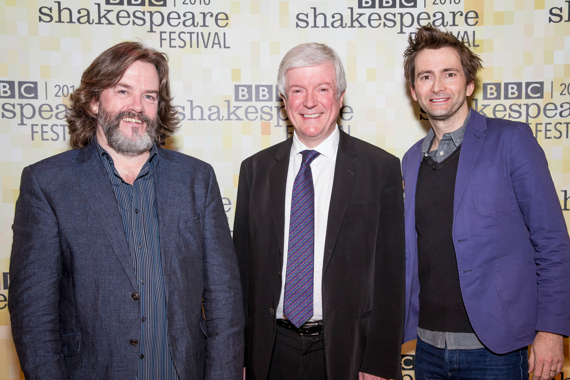 Tony Hall with RSC Artistic Director, Greg Doran & David Tennant (Credit: BBC/Guy Levy)