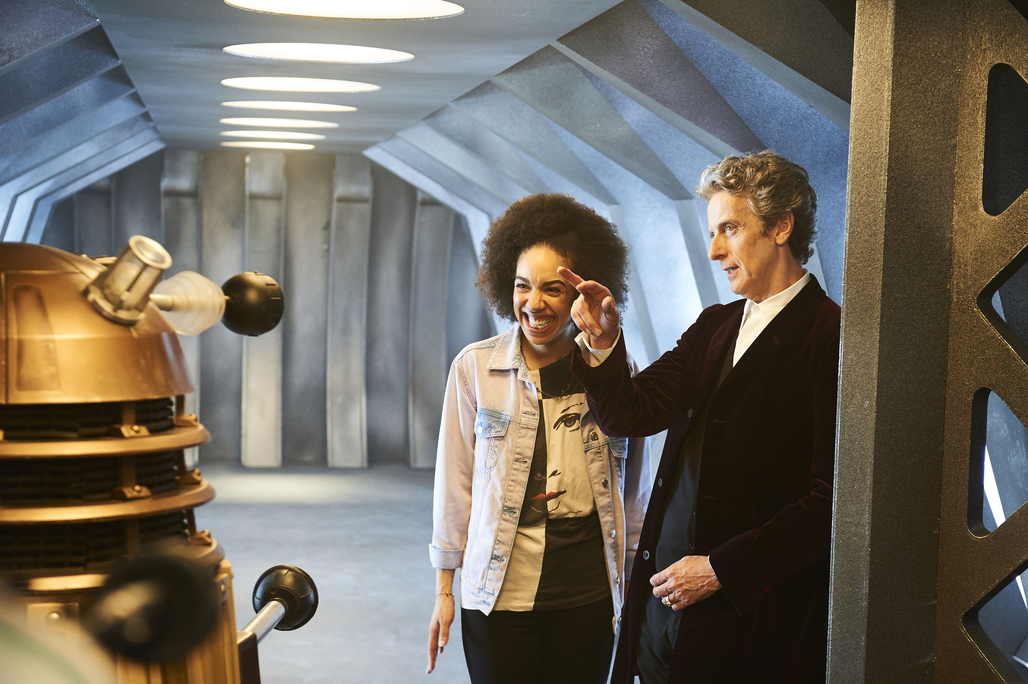 Pearl Mackie and Peter Capaldi (Credit: BBC / Ray Burmiston)