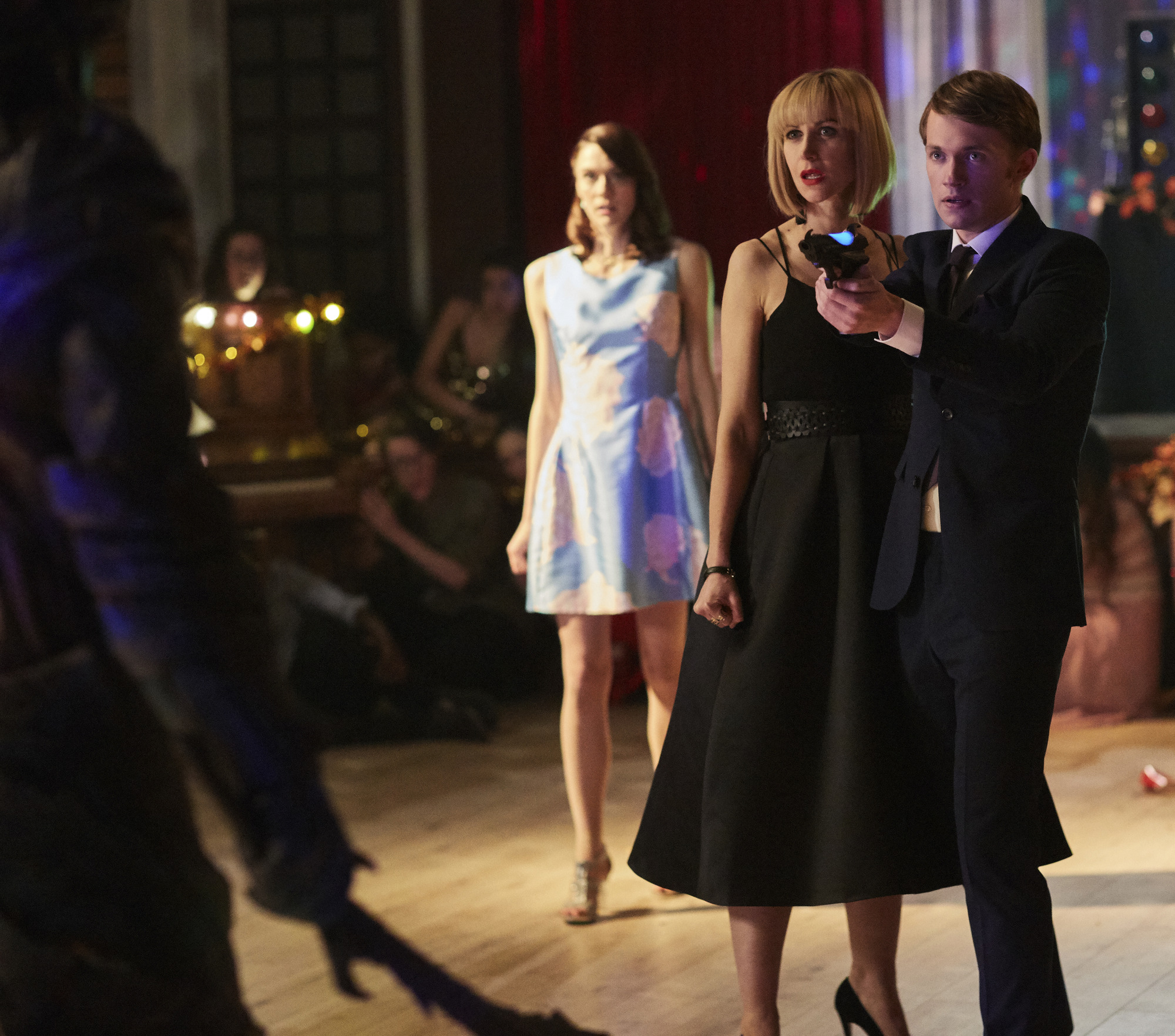 April (SOPHIE HOPKINS), Miss Quill (KATHERINE KELLY), Charlie (GREG AUSTIN) (Credit: BBC/Simon Ridgeway)