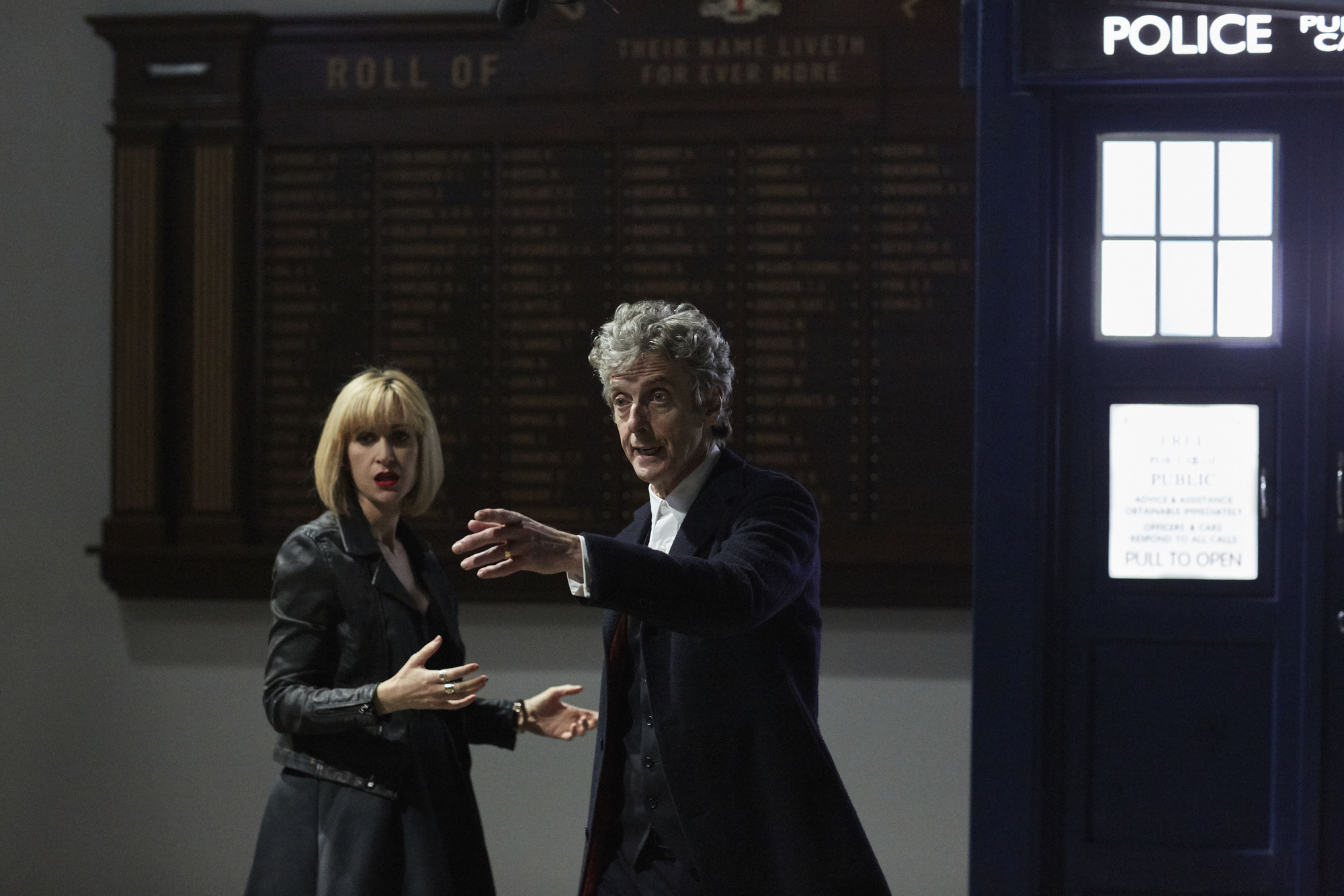 Miss Quill (KATHERINE KELLY), The Doctor (PETER CAPALDI) (L-R) (Credit: BBC/Simon Ridgeway)