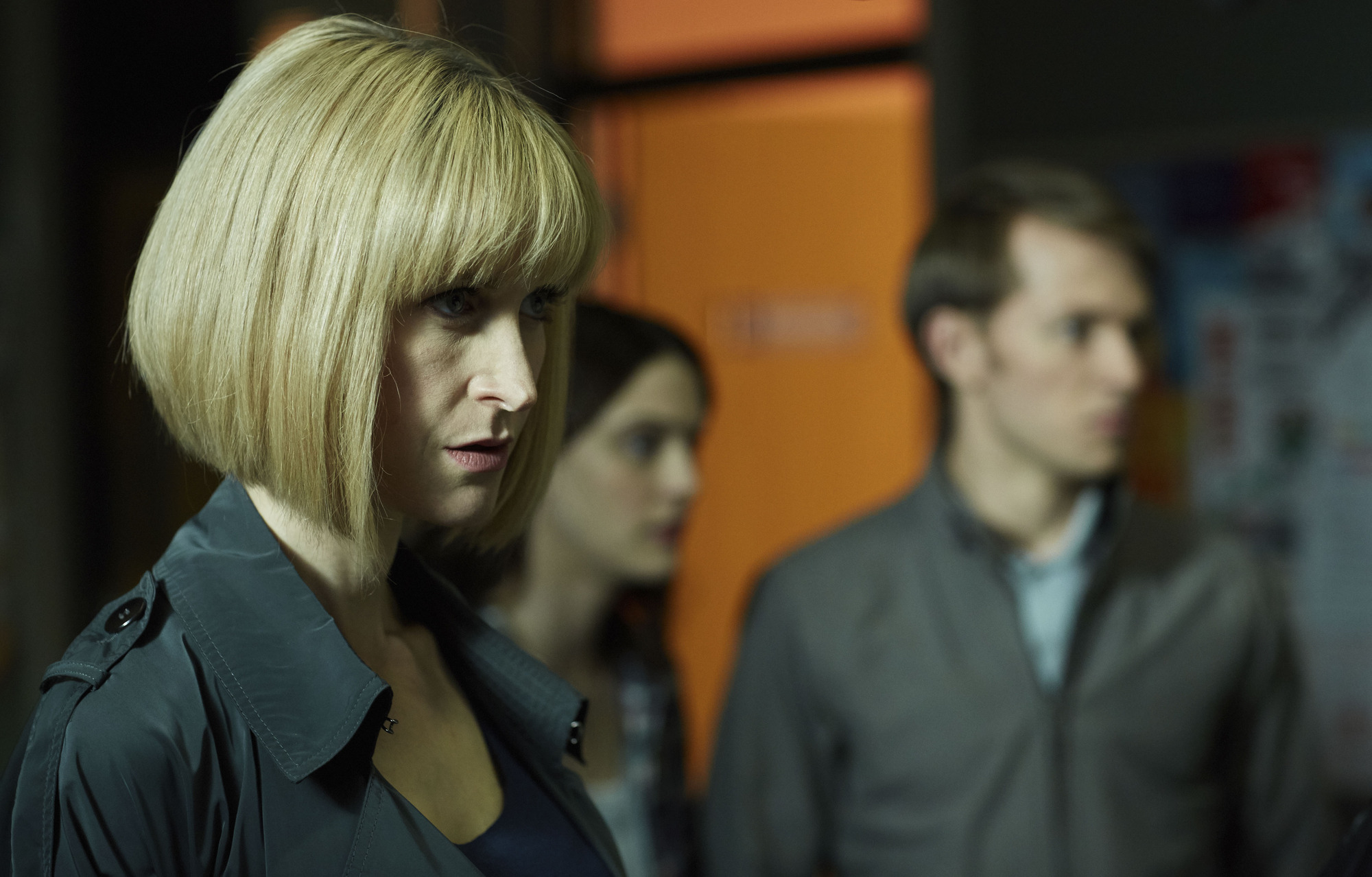 Miss Quill (KATHERINE KELLY), April (SOPHIE HOPKINS), Charlie (GREG AUSTIN) (Credit: BBC/Simon Ridgeway)