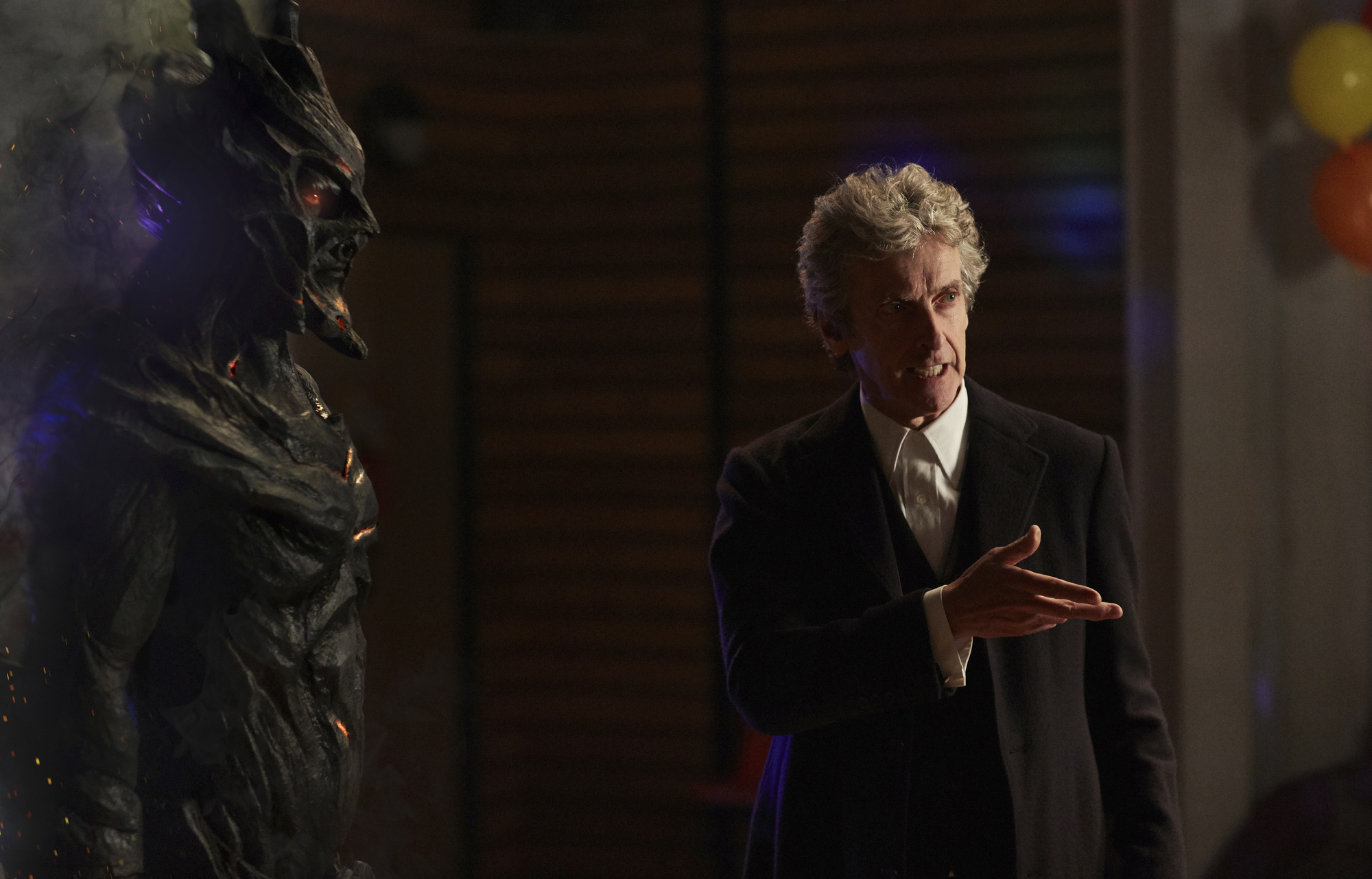 Corikinus (PAUL MARK DAVIES), The Doctor (PETER CAPALDI)  (Credit: BBC/Simon Ridgeway)