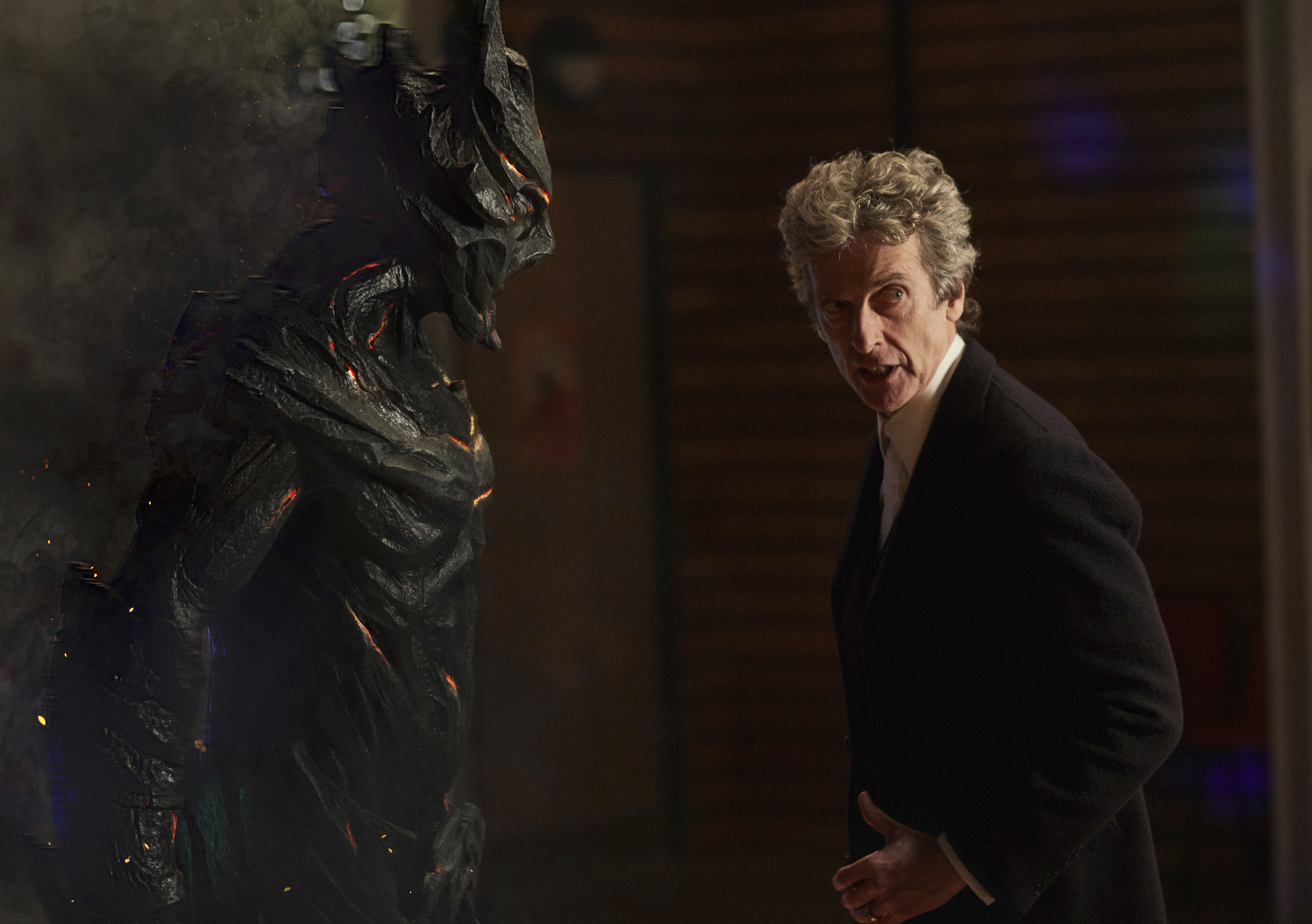 Corikinus (PAUL MARK DAVIES), The Doctor (PETER CAPALDI) (L-R) (Credit: BBC/Simon Ridgeway)