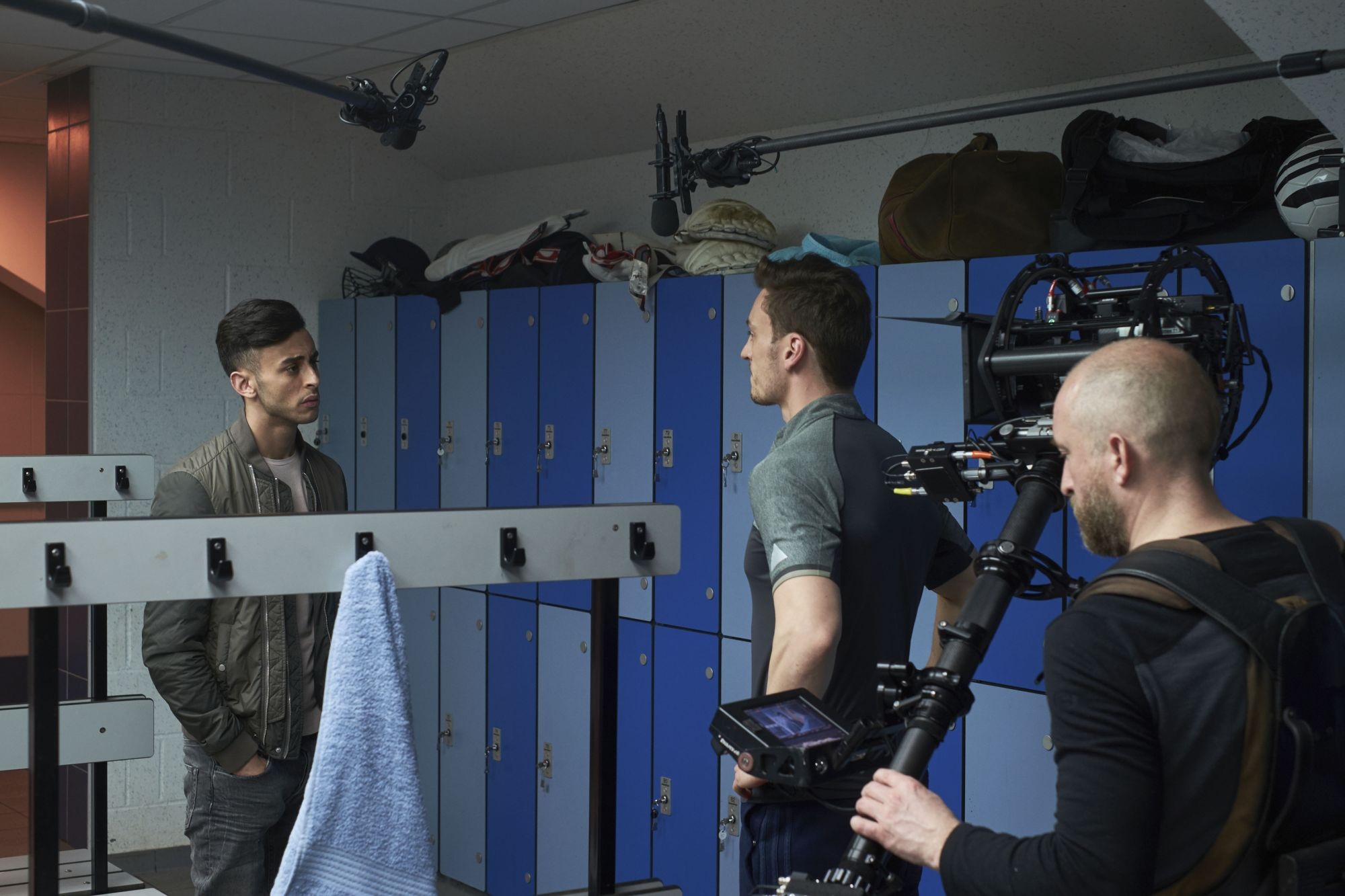Class - Ep2 - The Coach With The Dragon Tattoo - Ram (FADY ELSAYED), Coach Dawson (BEN PEEL) (Credit: BBC/Simon Ridgeway)