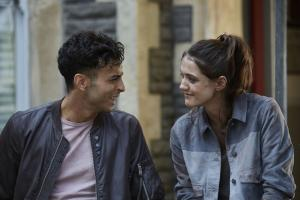 Class - Ep4 - Co-Owner Of A Lonely Heart - Ram (FADY ELSAYED), April (SOPHIE HOPKINS) (Credit: BBC/Simon Ridgeway)