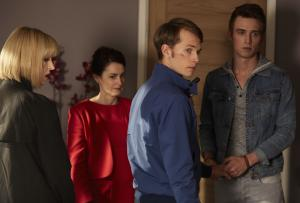 Class - Ep5 - Brave-ish Heart - Miss Quill (KATHERINE KELLY), Dorothea (POOKY QUESNEL), Charlie (GREG AUSTIN), Matteusz (JORDAN RENZO) (Credit: BBC/Simon Ridgeway)