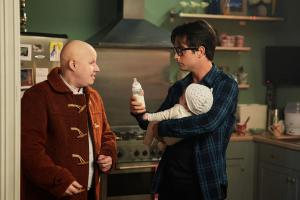 The Return of Doctor Mysterio  - Nardole (MATT LUCAS), Grant (JUSTIN CHATWIN) (Credit: BBC)