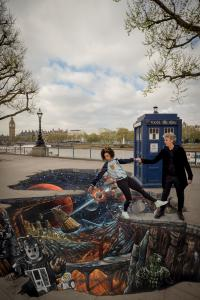 Peter Capaldi and Pearl Mackie at the South Bank promoting Series 10 (12 Apr 2017) (Credit: BBC/BBC Worldwide/3D Joe & Max/Guy Levy)