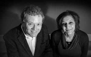 Jon Culshaw in conversation with Meera Syal (Credit: Penguin)