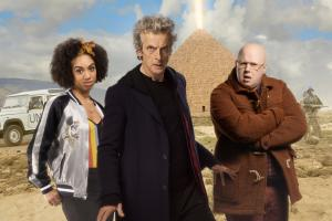 The Pyramid At The end Of The World: Bill (Pearl Mackie), The Doctor (Peter Capaldi), Nardole (Matt Lucas) (Credit: BBC/BBC Worldwide (Simon Ridgway/Des Willie/Ray Burmiston))
