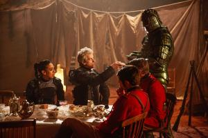 Empress of Mars: Bill (Pearl Mackie), The Doctor (Peter Capaldi), Catchlove (Ferdinand Kingsley), Godsacre (Anthony Calf), Friday (Richard Ashton) (Credit: BBC/BBC Worldwide (Simon Ridgway))