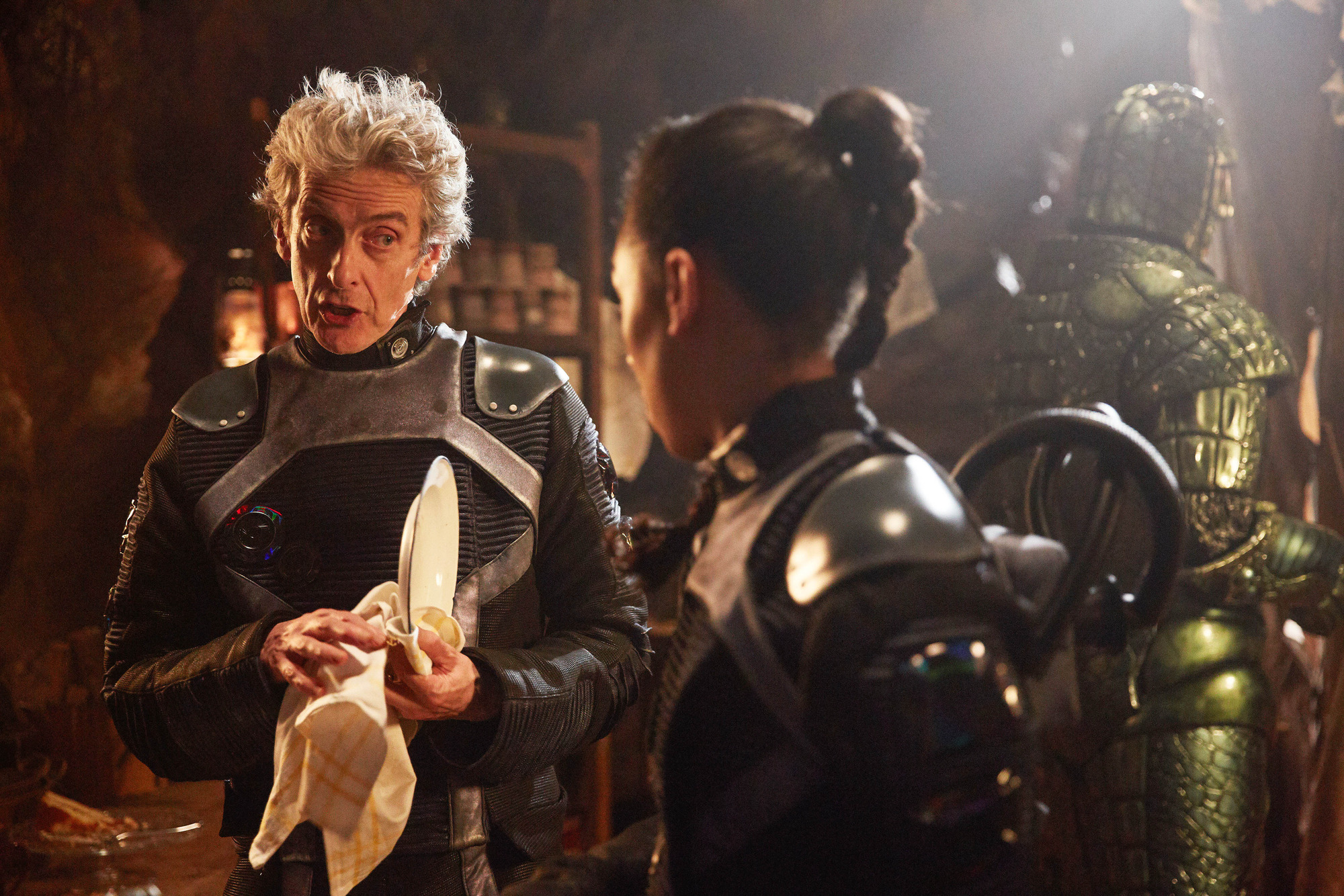 Empress of Mars: The Doctor (Peter Capaldi), Bill (Pearl Mackie), Friday (Richard Ashton) (Credit: BBC/BBC Worldwide (Simon Ridgway))